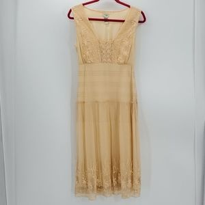 ODILLE sojourn peach flapper embroidered dress